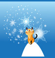 winter card with cat on blue background vector image
