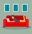 woman freelancer at sofa concept background flat vector image