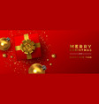 year gold red 3d holiday decoration vector image