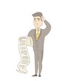 young caucasian accountant holding a long bill vector image vector image