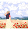 young woman enjoys field wheat and poppies vector image