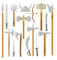 set of edged weapons vector image