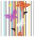 seamless striped background with butterflies vector image