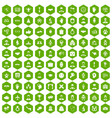 100 handshake icons hexagon green vector image vector image
