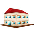 3d design for wide building with red roof vector image vector image
