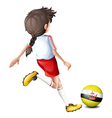 A soccer player with the flag of Brunei vector image vector image