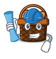 architect bread basket character cartoon vector image