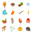 Autumn elements icons set isometric 3d style vector image vector image