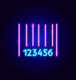 barcode neon sign vector image