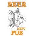 beer in the hand and beer tap vector image