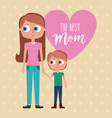 best mom - woman holds hand kid with pink vector image