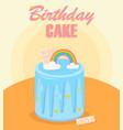 birthday cake with rainbow bar chocolate vector image vector image