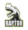 black and white dinosaur emblem on a white vector image