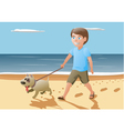 boy and dog walking on vector image vector image
