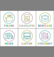business app round linear icons templates set vector image vector image
