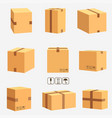 cardboard boxes stacked sealed goods vector image