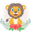 cartoon cute lion sitting with flowers background vector image vector image