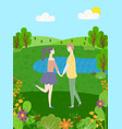 cartoon people walking in forest among green trees vector image vector image