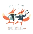cheerful dancing foxes on a white background vector image