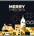 christmas and new year card gold holiday city vector image