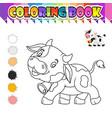 coloring book cute cow cartoon vector image vector image