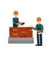 construction worker bricklayer making a brickwork vector image vector image