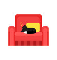 cute black cat sleeping on a pillow on a red vector image