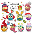 cute cartoon christmas owls on a white background vector image vector image