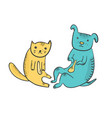 cute cartoon sitting yellow cat and blue dog vector image