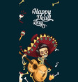 day of the dead man skeleton poster with copyspace vector image vector image
