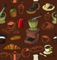doodle coffee pattern vector image vector image