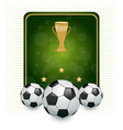 football layout with champion cup and place vector image vector image