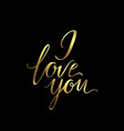 greeting card golden i love you vector image vector image