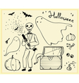 halloween set outline elements ghosts skeleton bat vector image