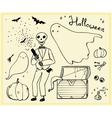 halloween set outline elements ghosts skeleton bat vector image