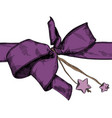 holiday bow with stars freehand drawing design vector image vector image