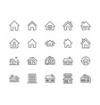 houses flat line icons set home page button vector image