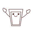 kawaii glass cup milk cartoon icon vector image