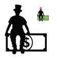 man silhouette sitting on dollar vector image vector image