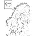 map the scandinavian lands scandinavia vector image vector image