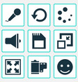 multimedia icons set with sd card minimize vector image