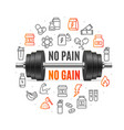no pain no gain concept with black dumbbell vector image vector image