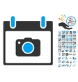 Photo Camera Calendar Day Flat Icon With vector image vector image