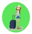 pretty girl with luggage in the airport or railway vector image vector image
