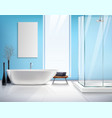 Realistic Bathroom Interior Design vector image vector image