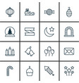 set of 16 celebration icons includes crescent vector image vector image