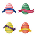 set of colorful eggs with ribbon for design cards vector image