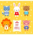 set of cute baby animals vector image vector image