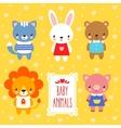 set of cute baby animals vector image