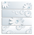 Set of floral banner with 3d chamomile gray vector image vector image